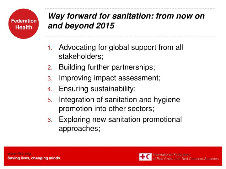 Way forward for sanitation: from now on and beyond 2015