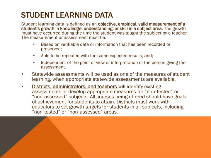 Student learning data