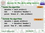 access to the data using service