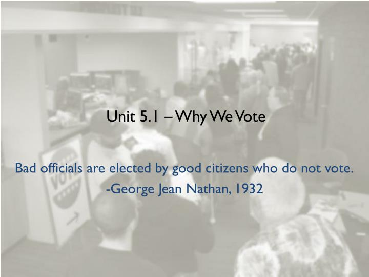 Unit 5 1 why we vote