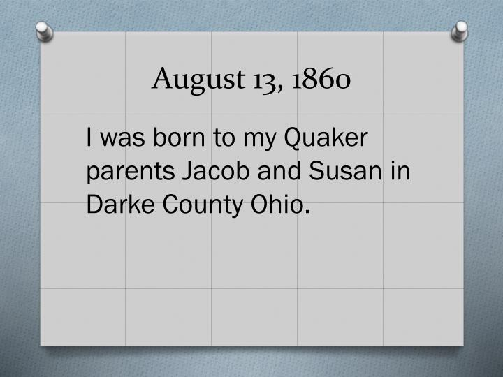 August 13 1860