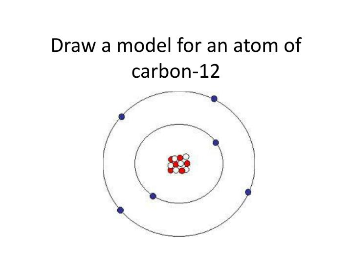 Draw a model for an atom of carbon-12