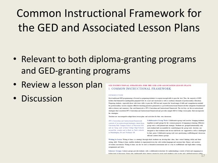 Common Instructional Framework for the GED and Associated Lesson Plans