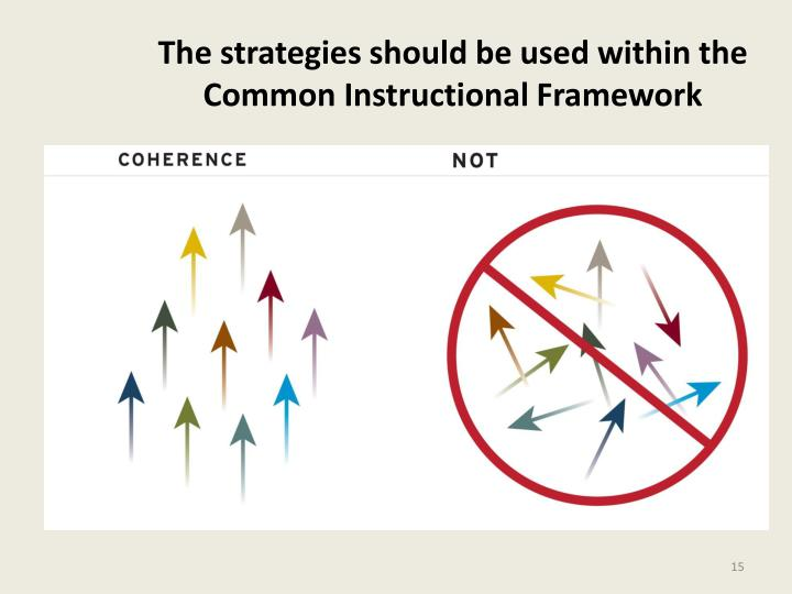 The strategies should be used within the Common Instructional Framework