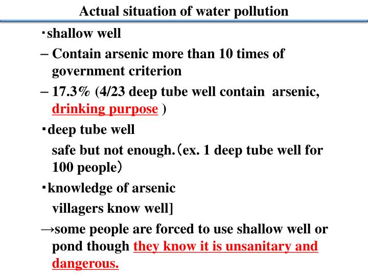Actual situation of water pollution