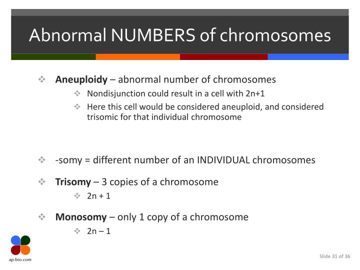 Abnormal NUMBERS of chromosomes