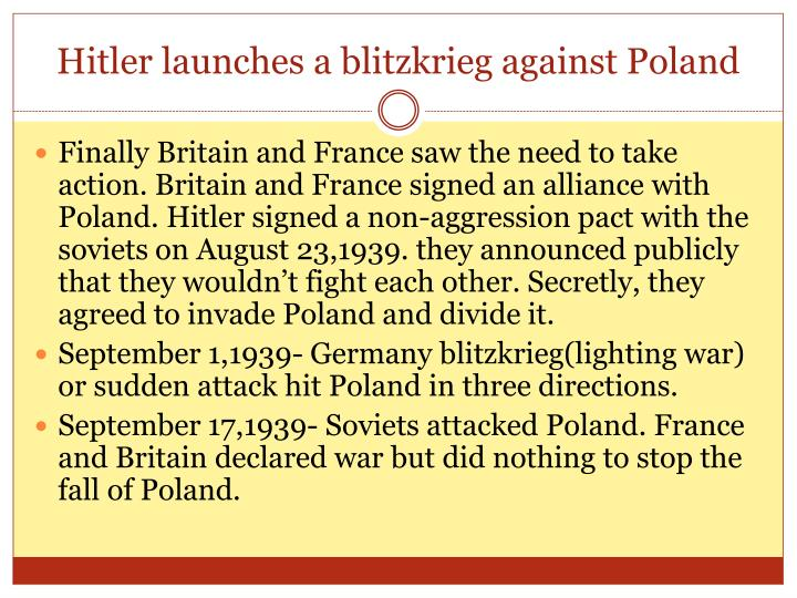 Hitler launches a blitzkrieg against Poland