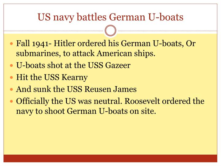 US navy battles German U-boats