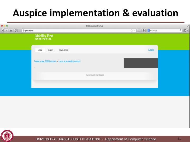Auspice implementation & evaluation