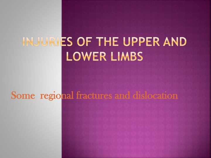 Injuries of the upper and lower limbs