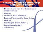 funding through partnership with civil society