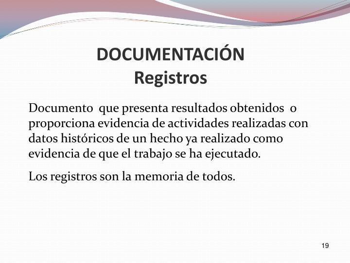 Documento  que presenta resultados obtenidos  o proporciona evidencia de actividades realizadas con datos históricos de un hecho ya realizado como evidencia de que el trabajo se ha ejecutado.