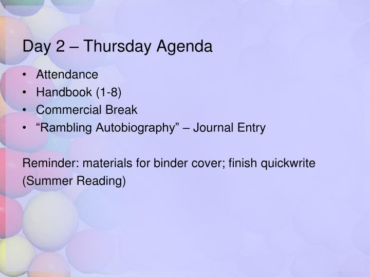 Day 2 – Thursday Agenda