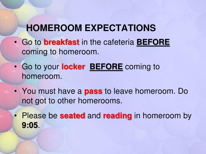 Homeroom expectations