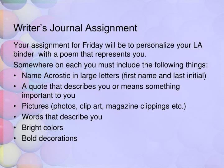 Writer's Journal Assignment