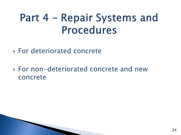 Part 4 – Repair Systems and Procedures