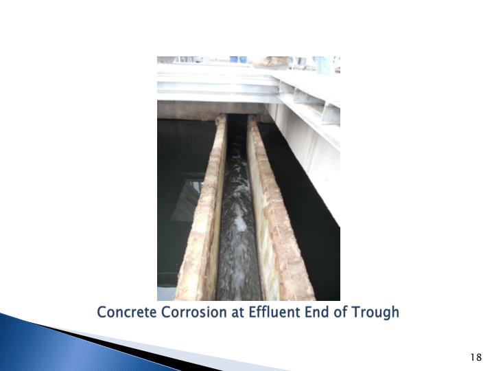 Concrete Corrosion at Effluent End of Trough