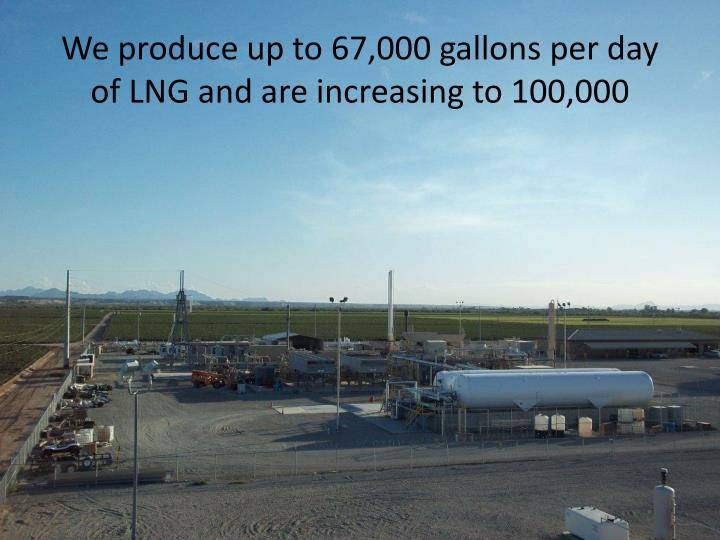 We produce up to 67,000 gallons per day of LNG and are increasing to 100,000