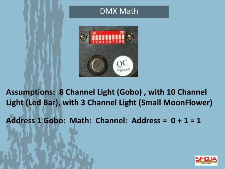 Assumptions:  8 Channel Light (Gobo) , with 10 Channel Light (Led Bar), with 3 Channel Light (Small