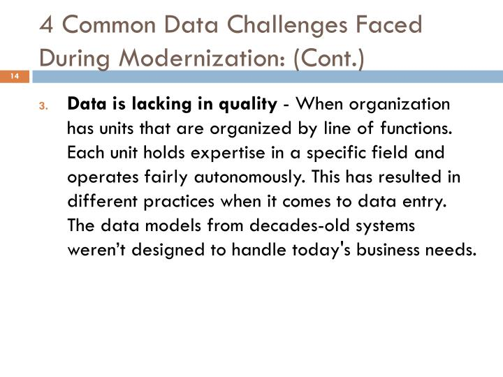 4 Common Data Challenges Faced During Modernization: (Cont.)