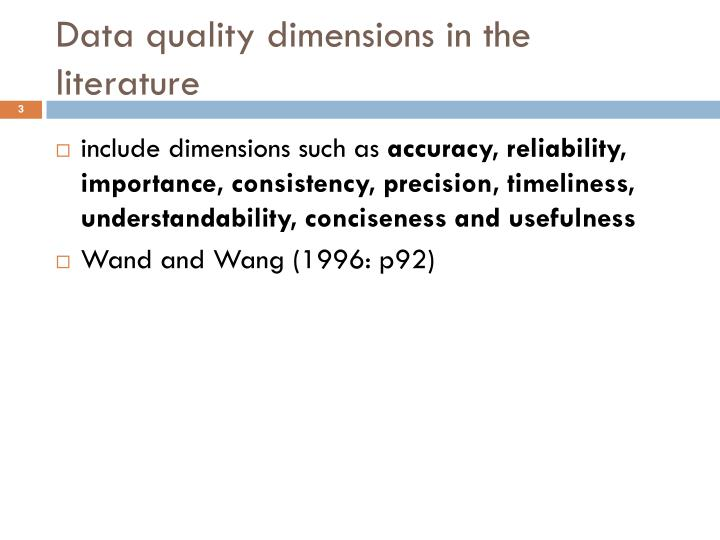 D ata quality dimensions in the literature