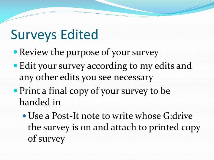 Surveys Edited