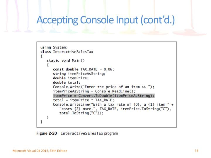 Accepting Console Input (cont'd.)