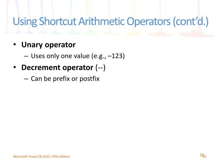 Using Shortcut Arithmetic Operators (cont'd.)