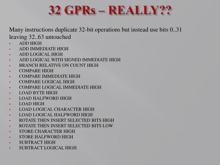 32 GPRs – REALLY??