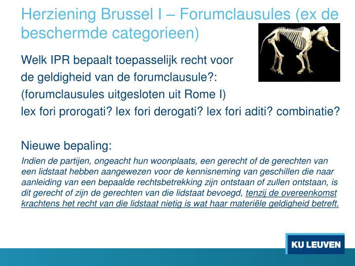 Herziening Brussel I – Forumclausules (ex de beschermde