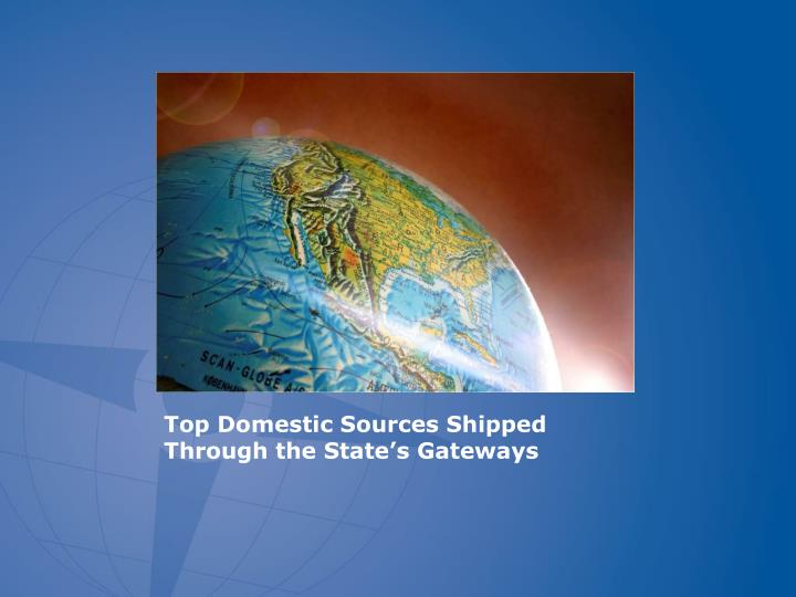 Top Domestic Sources Shipped Through the State's Gateways