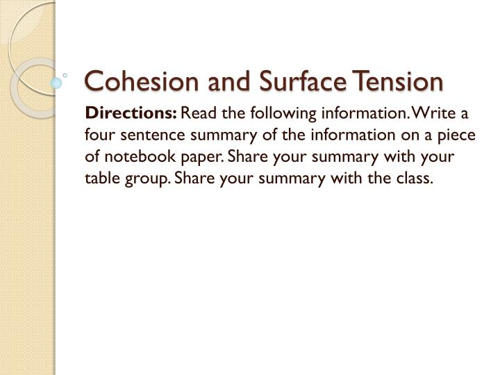 cohesion and surface tension n.