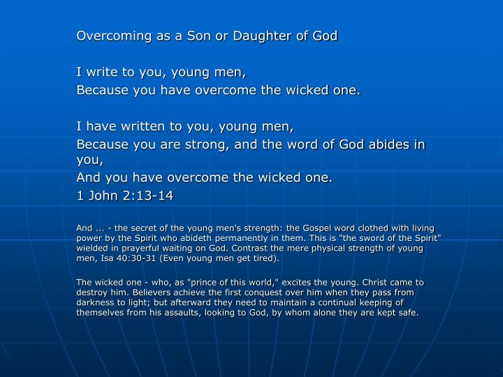 Overcoming as a Son or Daughter of God