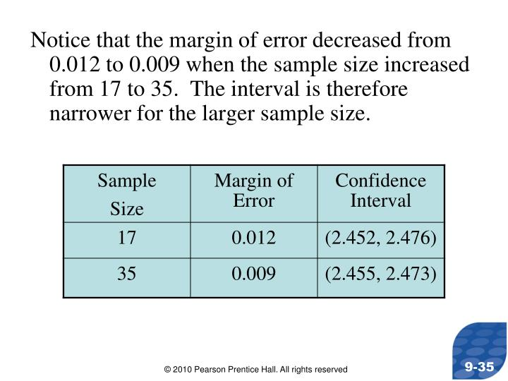Notice that the margin of error decreased from 0.012 to 0.009 when the sample size increased from 17 to 35.  The interval is therefore narrower for the larger sample size.