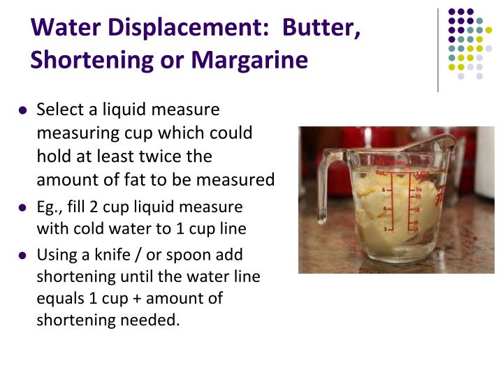 Water Displacement:  Butter