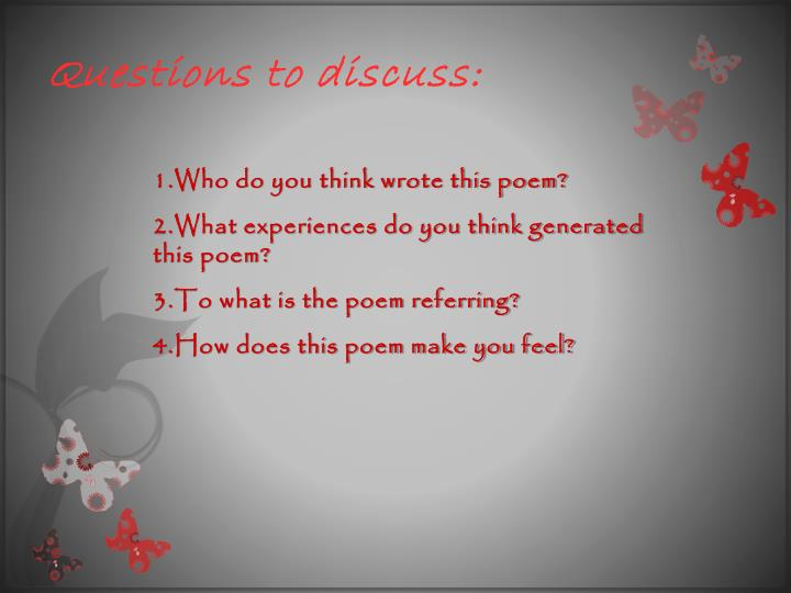 Questions to discuss:
