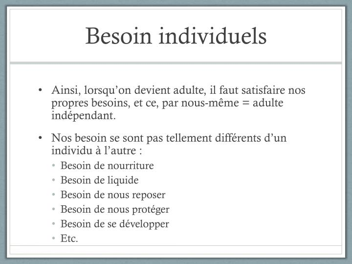 Besoin individuels