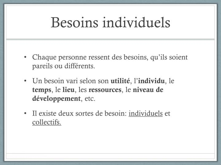 Besoins individuels1