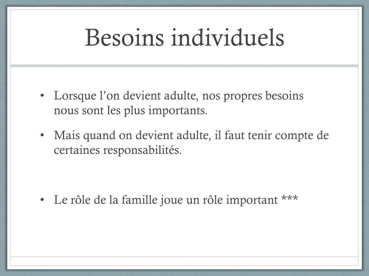 Besoins individuels