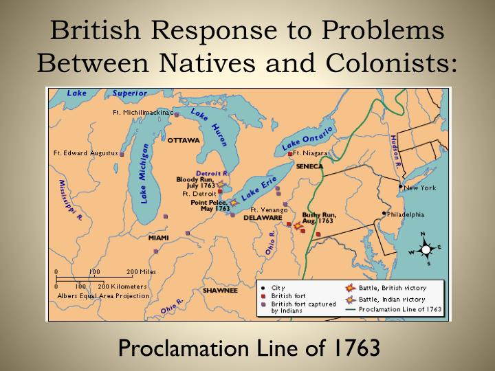 British Response to Problems Between Natives and Colonists: