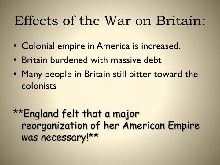 Effects of the War on Britain: