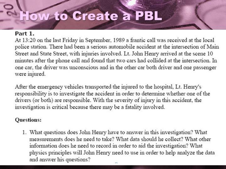 How to Create a PBL