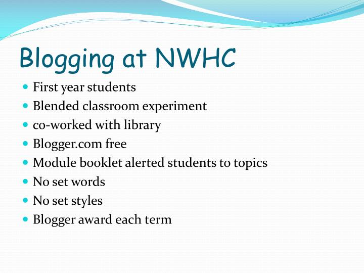 Blogging at NWHC