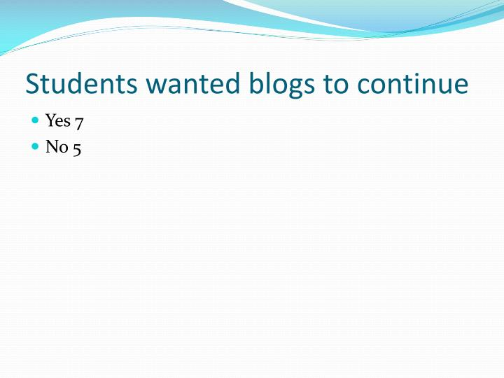 Students wanted blogs to continue