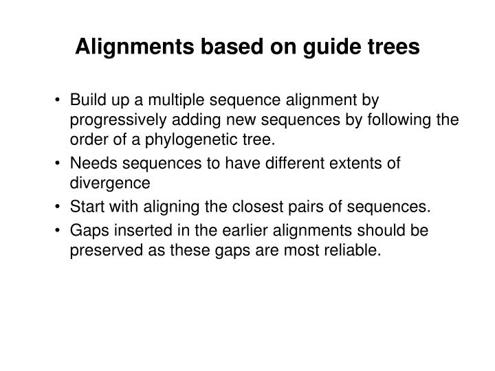 Alignments based on guide trees