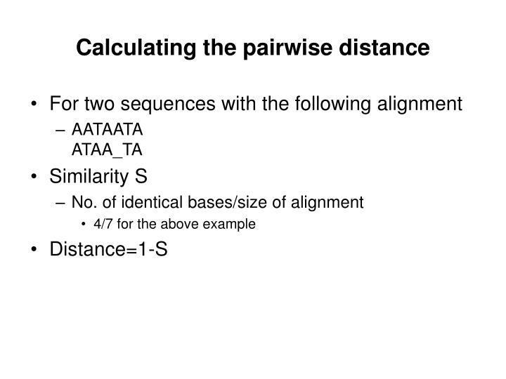 Calculating the pairwise distance