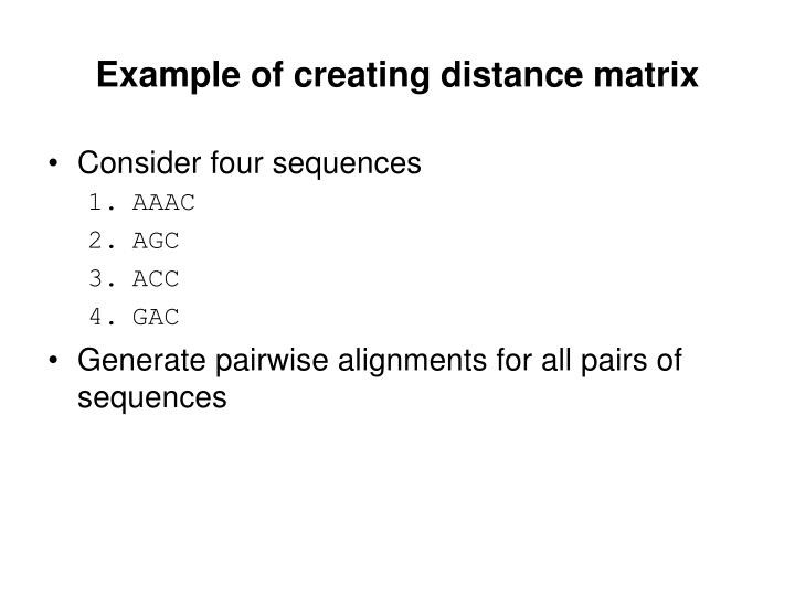 Example of creating distance matrix