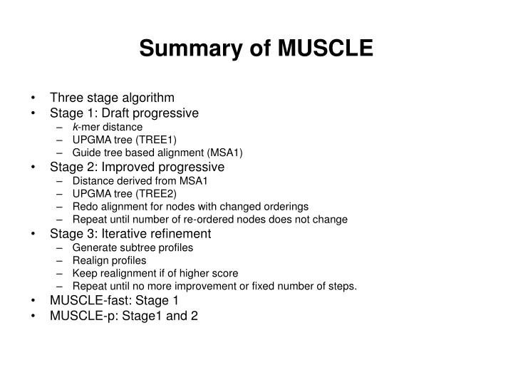 Summary of MUSCLE