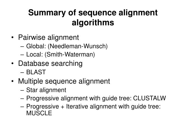 Summary of sequence alignment algorithms