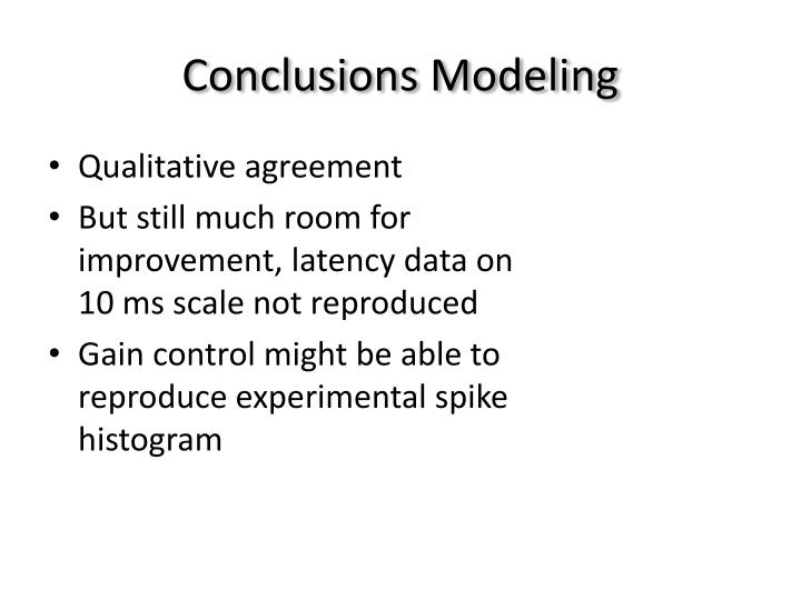Conclusions Modeling